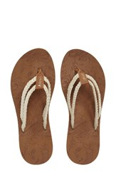 Sakroots Women's Bailen Flip Flop Natural Fabric