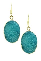 Eye Candy Los Angeles Teal Druzy Earrings Blue