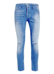Topman Light Wash Ripped Cropped Stretch Skinny Jeans Blue