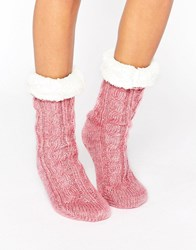 Asos Cable Faux Fur Lined Slipper Sock Pink