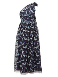 Luisa Beccaria One Shoulder Floral Sequinned Gown Navy Multi