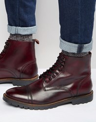 Base London Siege Lace Up Leather Boots Red