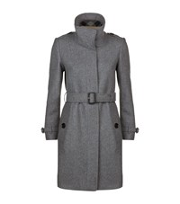 Burberry Technical Wool Cashmere Funnel Neck Coat Female Dark Grey
