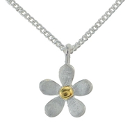 Nina B Sterling Silver And Gold Plated Five Petal Flower Pendant