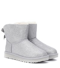 Ugg Mini Bailey Bow Glitter Ankle Boots Silver