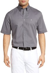 Nordstrom Men's Big And Tall Men's Shop Traditional Fit Short Sleeve Sport Shirt Grey Shade