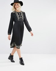 Gat Rimon Lori Long Sleeve Embroidered Dress Noir Black
