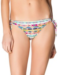 Jessica Simpson Tunnel Tribal Stripe Swim Hipster Bottom Cool Mint Multi