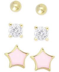 Victoria Townsend Lily Nily Children's Cubic Zirconia Earring Trio In 18K Gold Over Sterling Silver