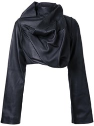 Rick Owens Cropped Biker Jacket Black