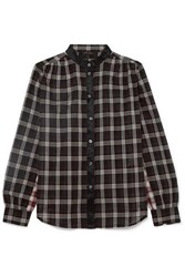 Marc Jacobs Satin Trimmed Checked Cotton Shirt Black