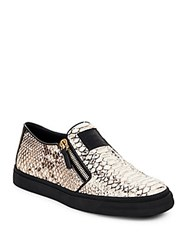 Giuseppe Zanotti Snake Print Leather Zip Up Sneakers Anthracite