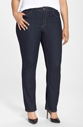 Plus Size Women's Nydj 'Marilyn' Stretch Straight Leg Jeans Dark Enzyme
