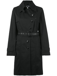Armani Jeans Double Breasted Trench Coat Women Cotton Polyester Wool 40 Black