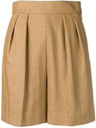 Theory Wide Leg Shorts Neutrals