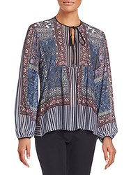 Clover Canyon Patchwork Print Peasant Blouse Multi