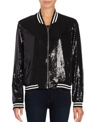Bb Dakota Sequined Baseball Jacket Black