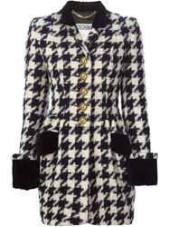 Moschino Vintage Houndstooth Coat Black