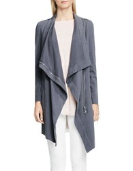 Vince Camuto Long Open Front Cotton Jacket Space Grey