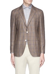 Tomorrowland Check Silk Cashmere Soft Blazer Brown