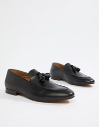 Hudson H By Bolton Tassel Loafers In Black Leather