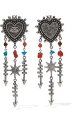 Valentino Silver Tone Beaded Earrings One Size