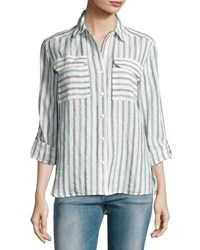 Vince Camuto Long Sleeve Striped Linen Shirt Blue White