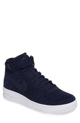 Nike Men's Air Force 1 Ultra Flyknit Mid Sneaker College Navy Black White
