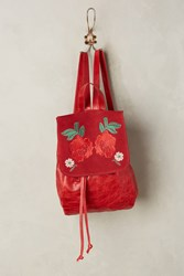 Anthropologie Embroidered Flower Leather Backpack