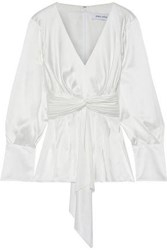 Prabal Gurung Woman Knotted Pleated Silk Satin Blouse Ivory