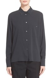 Eleventy One Pocket Silk Blouse Gray