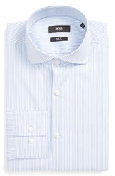 Boss Men's Big And Tall Jason Slim Fit Stripe Stretch Dress Shirt Light Pastel Blue