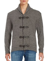 Black Brown Wool Rich Toggle Cardigan Mushroom Heather