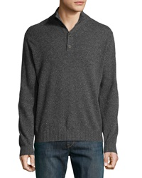Neiman Marcus Ribbed Trim Cashmere Pullover Sweater Charcoal