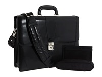 Bosca Old Leather Collection Double Gusset Briefcase Black Leather Briefcase Bags