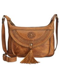 Patricia Nash Distressed Leather Camila Crossbody Cognac