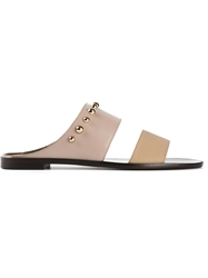 Lanvin Double Strap Mules Nude And Neutrals