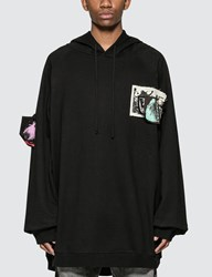 Raf Simons Oversized Hoodie With Patches And Pins Black