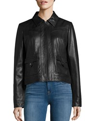 Bernardo Spread Collar Retro Leather Jacket Black