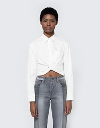 Alexander Wang Twist Front Long Sleeve Shirt White