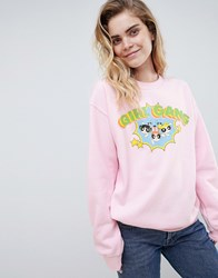 Daisy Street X Powerpuff Girls Sweatshirt With Girl Gang Logo Pink