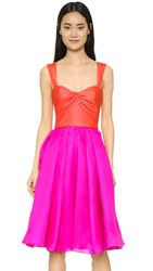 Reem Acra Silk Gazar Full Skirt Dress Tangerine Fuchsia
