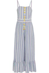 See By Chloe Striped Cotton Seersucker Jumpsuit Blue