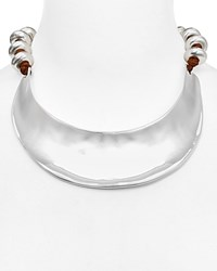 Robert Lee Morris Soho Leather Statement Choker Necklace 16 Silver Brown