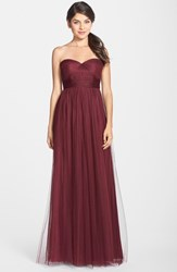 Women's Jenny Yoo 'Annabelle' Convertible Tulle Column Dress Cabernet