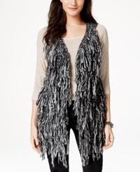 Material Girl Juniors' Fringe Sweater Vest Only At Macy's Caviar Black