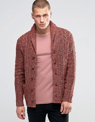 Denim And Supply Ralph Lauren Cardigan With Shawl Neck In Cable Knit Red Red