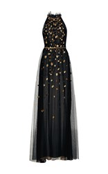 Monique Lhuillier High Neck Embellished Gown Black