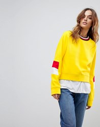Tommy Hilfiger Sleeve Panel Sweat With Stripe Neck Yellow