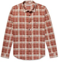 Outerknown Highline Checked Brushed Cotton And Linen Blend Flannel Shirt Brick